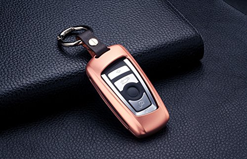 M.JVisun Car Remote Keyless Entry Key Case Cover Fob Skin for BMW 1 Series 2 (Part Models) 3 GT 4 5 6 Series X3 X4 M2 M3 M4 M5 M6,Premium Aircraft Aluminum + Genuine Leather With Key Chain - Rose Gold