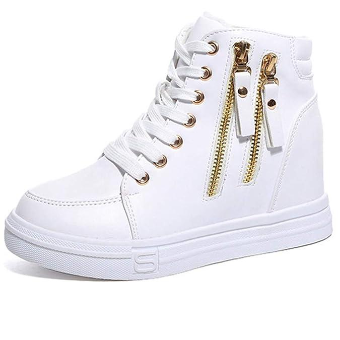 Mujeres CuñAs Zapatillas De Deporte Fuera Cremallera DecoracióN Felpa Plana Alpargatas con Cordones SóLido SeñOras Zapatos Que Aumentan: Amazon.es: Zapatos ...
