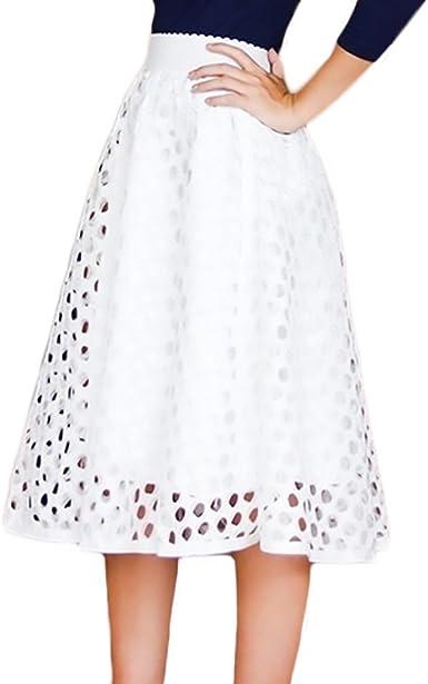 Mujer Faldas Cintura Alta Color Solido Dulce Lindo Chic Vintage ...