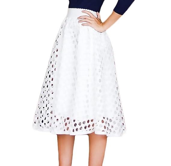 Falda Midi Mujer Cintura Alta Color Solido Elegante Sencillos ...