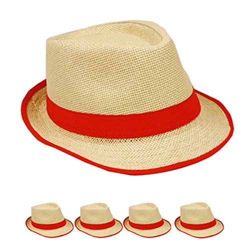 Straw Fedora Hat Trilby Style Banded and Rim Line Gangster Panama Classic Hat (Banded Straw Fedora Hat)