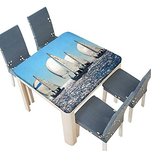 PINAFORE Jacquard Polyester Fabric Tablecloth Sailing Regatta in Greece Four Back Lighted Boats with spinnakers Open Suitable for Home use 65 x 65 INCH (Elastic Edge)