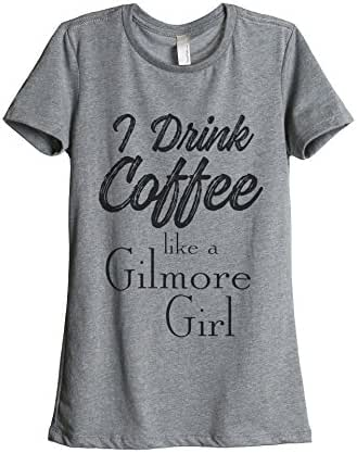 Thread Tank Drink Coffee Gilmore Girls Women's Fashion Relaxed T-Shirt Tee Heather Grey