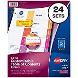 Avery Ready Index Table of Contents Dividers, 5-Tab Set,  24 Sets (11167)