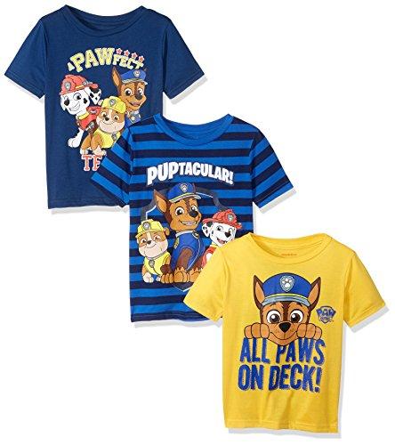 Nickelodeon Little Boys  Toddler Paw Patrol 3 Pack T-Shirts, Red/Orange/Blue, 3T