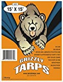 Grizzly Tarps 15 x 15 Feet Blue Multi Purpose Waterproof Poly Tarp Cover 5 Mil Thick 8 x 8 Weave
