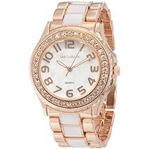Womens Boyfriend Watch Two Tone Bracelet Rose Gold Tone and White Designer Inspired Jade LeBaum JB202744G