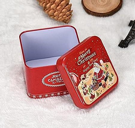 Rcdxing Caja de metal para dulces o galletas, diseño de Navidad: Amazon.es: Hogar