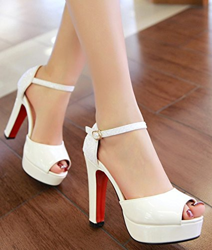 Idifu Femmes Sexy Peep Toe Cheville Sangle Chunky Talons Hauts Plate-forme Pompes Chaussures Blanc