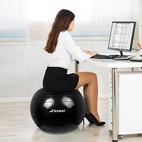 Trideer yoga ball exercise ball anti burst extra thick heavy duty ball chair birthing ball - Replacing office chair with exercise ball ...