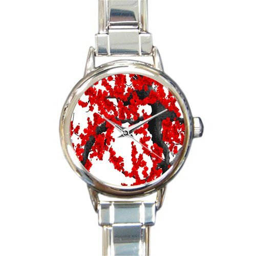 Gifts for Mother Blood Red Cherry Blossom Art Italian Charm Women's Watch