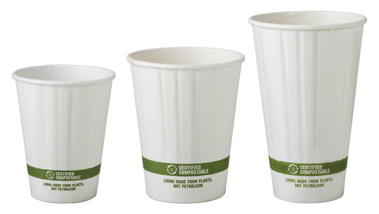 16 oz Double Wall Compostable Hot Paper Cups   Insulated Coffee Cups   Biodegradable Paper Hot Cups   600 count