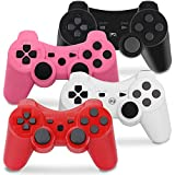 PS3 Controller Wireless, Gaming Remote Joystick for Playstation 3 with Charger Cable Cord (Pack of 4, Black, Pink, White, Red)