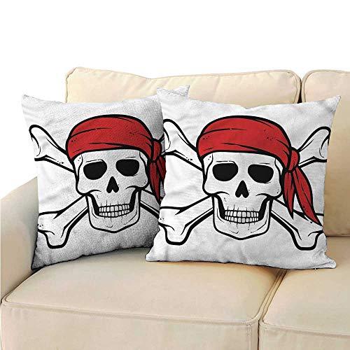 Godves Velvet Pillowcase Pirate Skull and Crossbones Bandit Premium,Ultra Soft,Hypoallergenic,Breathable 20