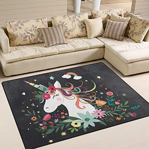 XiangHeFu Soft Doormats 7'x5' (80x58 Inches) Area Rugs Happy Unicorn Floral Flower Non-Slip Floor Mat Resting for Living Room ()