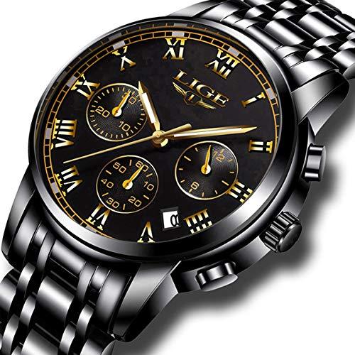 Gents Watch Date - Mens Watches Sports Analog Quartz Watch Gents Fashion Business Full Steel Waterproof Chronograph Watch Man LIGE Date Calendar Gold Wristwatch Black