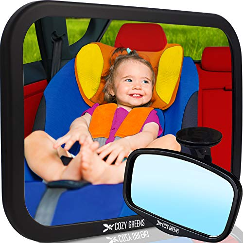 COZY GREENS Baby Car Mirror XL w/Upgraded Ball Joint| Crash Tested, Stable, Shatterproof| 100% Lifetime Satisfaction Guarantee| Matte Finish | Baby Mirror for Back Seat | Carseat Mirrors Rear Facing