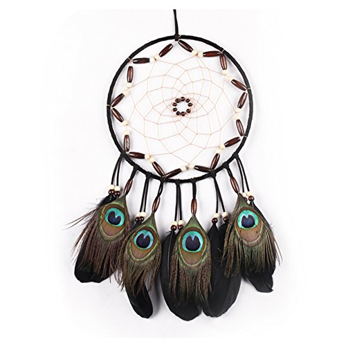 Dream Catcher for Kids, Handmade Peacock Feathers Decorations for Home Party - Diameter 8