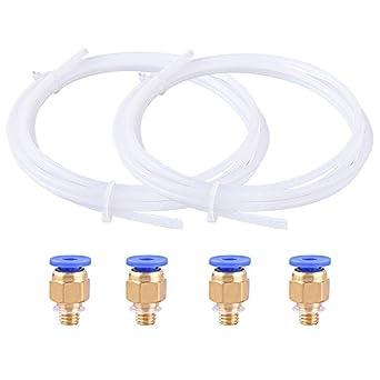 Tubo de Teflón de PTFE 2 Piezas (2m)+ 4 Piezas PC4-M10 Conectores ...