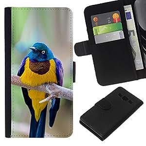 KLONGSHOP // Tirón de la caja Cartera de cuero con ranuras para tarjetas - amarillo azul pájaro ramificación plumas de oro - Samsung Galaxy A3 //