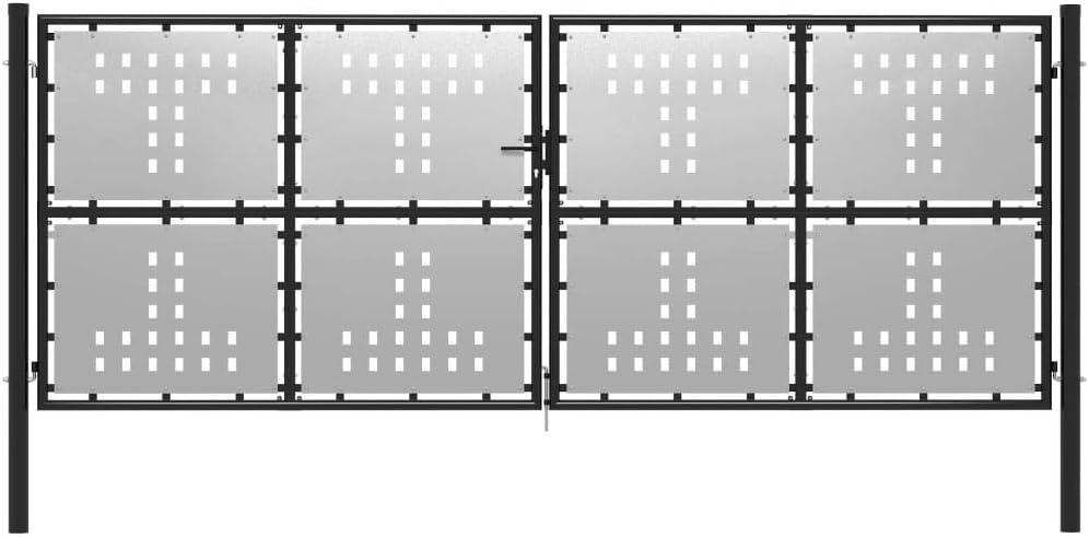 Abschlie/ßbar Tidyard Metall Gartentor Zauntor Hoftor Doppeltor Doppelfl/ügeltor Einfahrtstor 400x150 cm Silbern und Schwarz