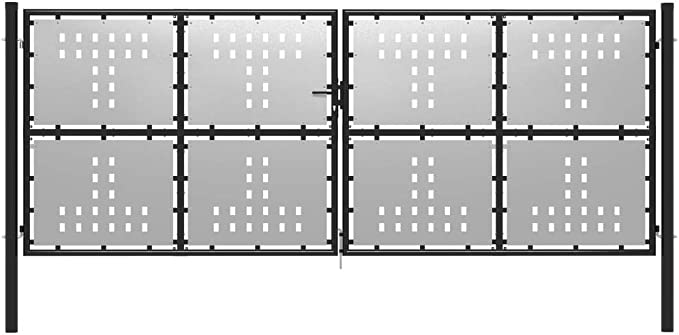 300x175cm UnfadeMemory Puerta Doble Metalica de Valla para Jardin Patio o Terraza,Entrada para Valla,Puerta de Jard/ín,con Puntas de Lanza,Acero Negro