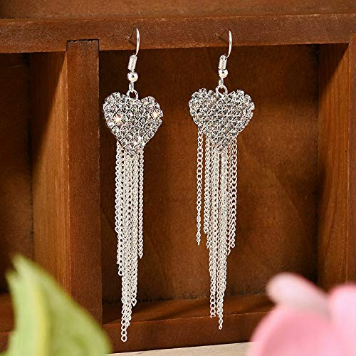 (Wausa Fashion Long Korean Style Tassel Leaves Crystal Rhinestone Stud Earrings | Model ERRNGS - 6550)