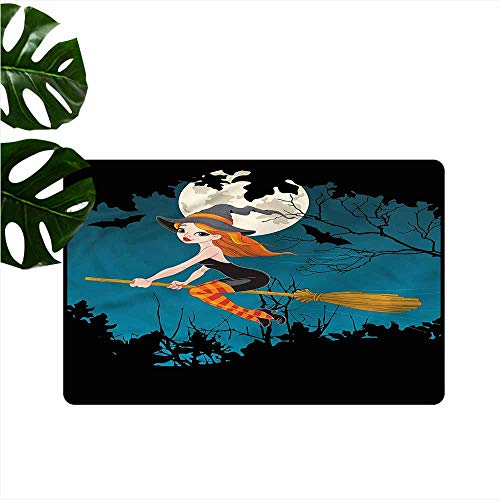 (DONEECKL Interesting Doormat Witch Spooky Woodland Halloween Personality W31)