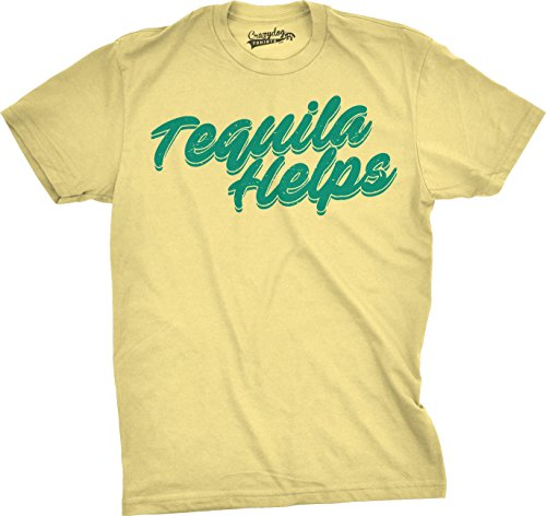 Crazy Dog T-Shirts Mens Tequila Helps Tshirt Funny Mexico Drinking Taco Tuesday Margarita T Shirt (Yellow) M