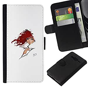 All Phone Most Case / Oferta Especial Cáscara Funda de cuero Monedero Cubierta de proteccion Caso / Wallet Case for Samsung Galaxy Core Prime // Red Head