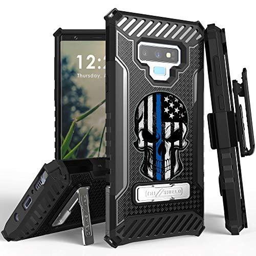 Trishield Series for Note9 Case, Military Grade Rugged Cover + [Metal Kickstand]+[Belt Clip Holster] for Samsung Galaxy Note 9 (2018) - Thin Blue Line Skull