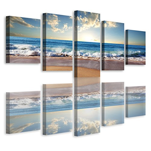 Haichuang Decor Art 5 Piece Framed Beach Seascape Picture Print On Canvas  Painting For Giclee Wall Decoration