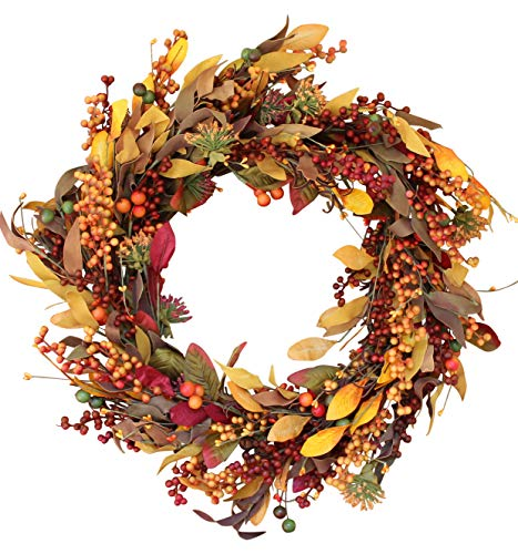 Saranac Berry Fall Front Door Wreath 22 Inches - Lush Seasonal Foliage and Berries, Approved for Covered Outdoor Use, with Beautiful White Gift (Fall Door Wreaths)