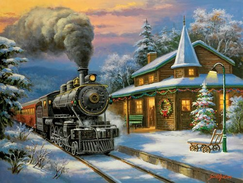 (RAILROAD JIGSAW PUZZLE - Steam Train