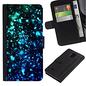 UberTech / Samsung Galaxy Note 4 SM-N910 / Stars Lights Blue Black Dark Bright Teal / Cuero PU Delgado caso Billetera cubierta Shell Armor Funda Case Cover Wallet Credit Card