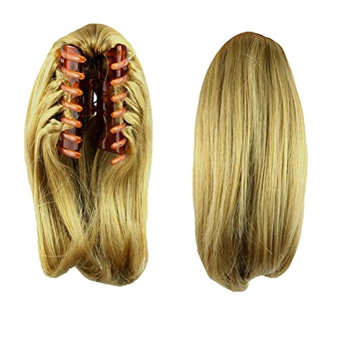 S-ssoy 10 Womens Short Straight Claw Clip On In Ponytail Pony Tail Hair Extension Synthetic Wig Hair Piece Hairpiece for Girl Lady Women, 1011