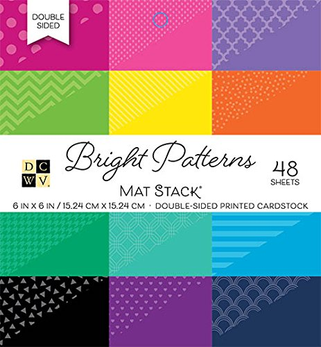 - American Crafts 6 x 6 Inch Bright Patterns Double Sided 48 Sheets Die Cuts with a View Mat Stacks