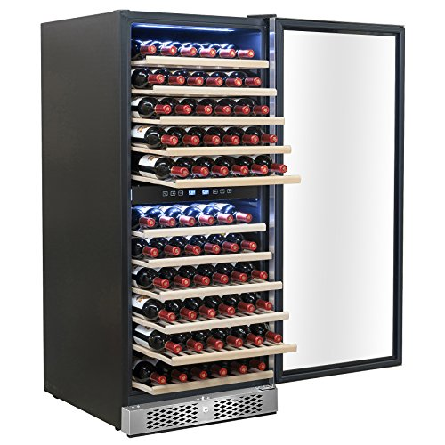 AKDY 21 Bottles Dual Zone Thermoelectric Freestanding Electric Wine Cooler Cellar w/ LED Lights