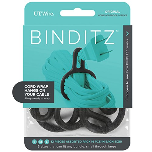 UT Wire UTW-R12-BK Binditz Attachable Silicon Cable Wrap for Home, kitchen Small Appliances, Computer, Hair Dryer Cords in White (Black) Set of 12 Assorted Sizes,