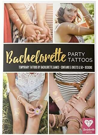 Bride & Bachelorette Party Tattoos 50+ Premium Designs 5 Sheets of Temporary Tattoos