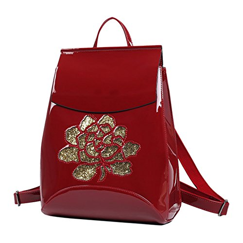 [Moonwind Sequined Rose Patent Leather Backpacks for Womens Travel Backpack Purse (9-004# Convertible Backpack, Burgundy)] (Patent Leather Backpack)