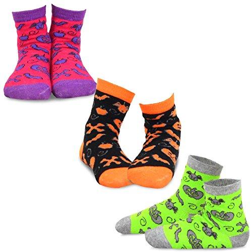 TeeHee Halloween Kids Cotton Fun Crew Socks 3-Pair Pack (12-24M, Allover Scary Things)