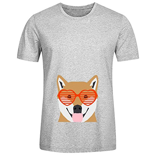 shiba-inu-dog-mens-crew-neck-music-shirts-grey