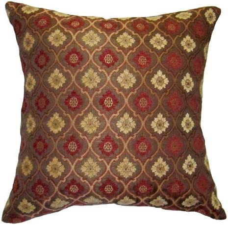 20×20 Burgundy and Gold Bulbs Brocade Decorative Throw Pillow Cover Reino Collection