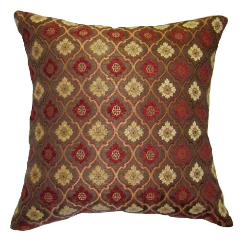 26x26 Burgundy and Gold Bulbs Brocade Decorative Throw Pillow