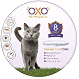 New Natural Cat Flea and Tick Collar. Adjustable, Waterproof Cats Flea Collar/Cats Tick Collar, Flea And Tick Prevention For Cats, Lasts Up To 8 Months, One Size Fits All. Grey Color