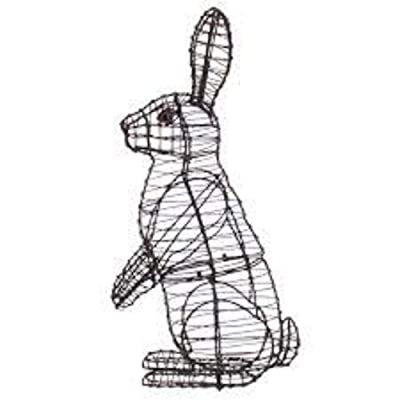 """Sitting Upright Rabbit 13"""", 21"""" and 34"""" Topiary Sculpture - Wire Frame or Moss Filled : Garden & Outdoor"""