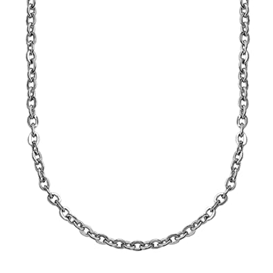 2ec96f6b3d2a tumundo Cadena de Ancla Acero Collar Eslabones Link Enlace Cuello Hombre  Mujer Plata Joyería Carabina 50-60 cm