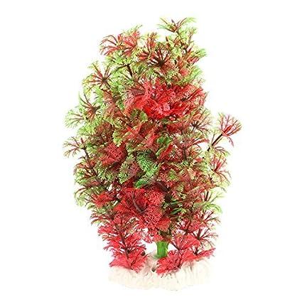 eDealMax Hierba del ornamento acuario de plástico pecera Artificial planta falsa 20cm Alto Rojo Verde