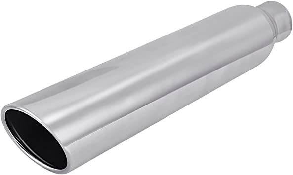 """2Pcs Stainless Steel Exhaust Tip /& Pipe Slant Cut Weld On 2.25/"""" Inlet 3/"""" Outlet"""